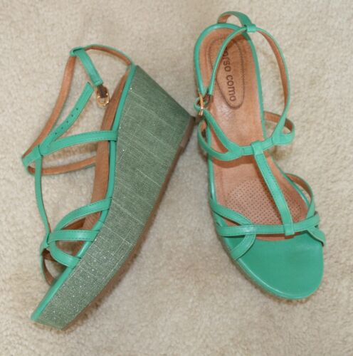 Anthropologie Phthalo Green Platforms by Corso EUC
