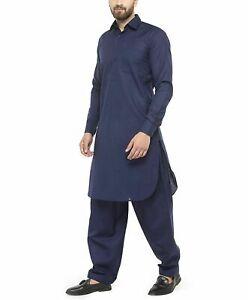 Mens Kurta Pakistan Kaftan Pajama Dress Long Sleeve Plain Robe Shirt Top S-5XL