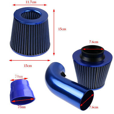 3 Inch Universal Car Turbo Cold Air Flow Intake Filter Kit W/alumimum Pipe Clamp