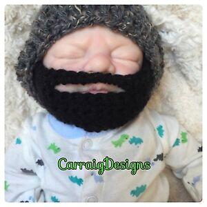 HANDMADE Baby boy Beard hat black Bearded photo grey prop beanie ... 537a7ed737f