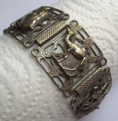 Beau Bracelet Ancien Bijou Marocain Couleur Argent Ciselé Larges Maillons 2347 Per Prevenire E Curare Le Malattie