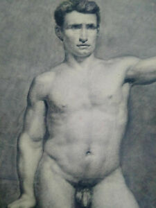 Rare-grand-dessin-nu-masculin-XIXeme-homme-etude-academique-cadre