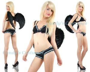 Ruffle-BRA-and-Low-Rise-CHEEKY-Panties-LINGERIE-Set-BLACK-amp-BLUE-Size-10-12