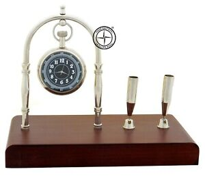 Maritime-Brass-Desk-Clock-amp-Pen-Holder-With-Wooden-Home-Decor-Nautical