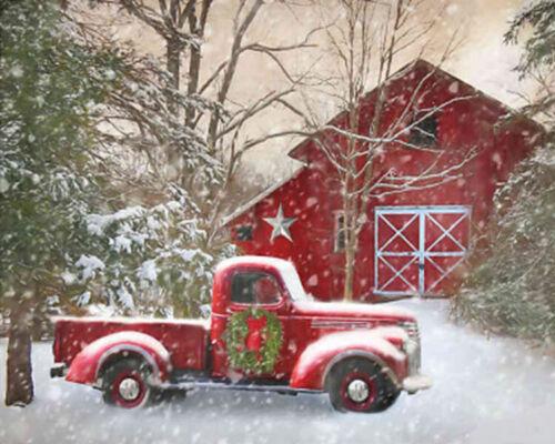 Holidays Cross Stitch Pattern Courtside Market™ Barn With Truck Christmas Art