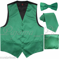 Emerald Green Tuxedo Vest Waistcoat And Neck Tie & Straight Cut Bowtie Hanky Set