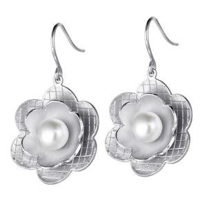 Details zu MATERIA Damen Ohrhänger Blume 925 Sterling Silber Ohrringe Perle rhodiniert matt