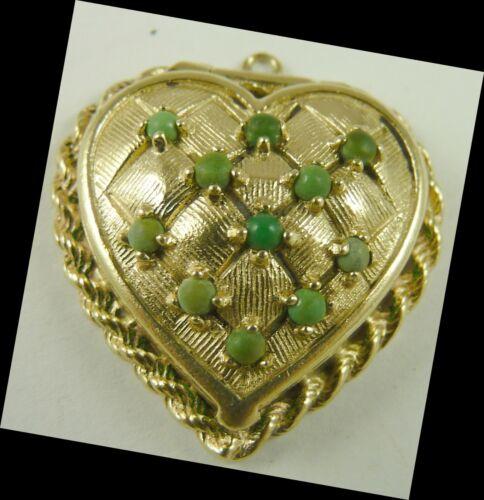 Heart Charm Locket Vintage 14K Gold Beaded Top
