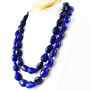 1180-00-Cts-Earth-Mined-2-Strand-Blue-Sapphire-Pear-Shape-Faceted-Beads-Necklace