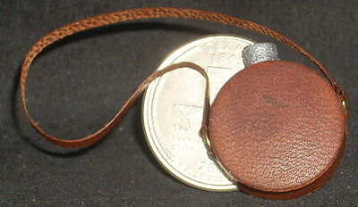 Dollhouse Miniature Artisan Handmade Aged Leather Western Canteen 1:12 Scale