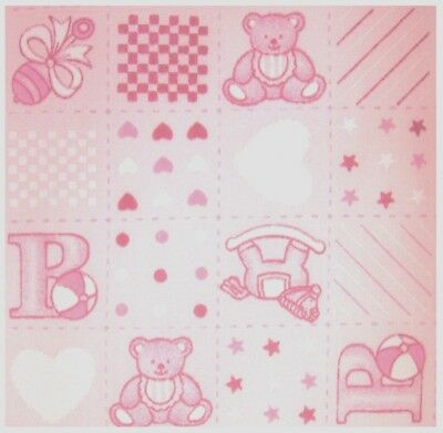 NURSERY BABY PolyCotton Fabric Cream Pink  ABC Baby TeddyBear Reduced Price NEW