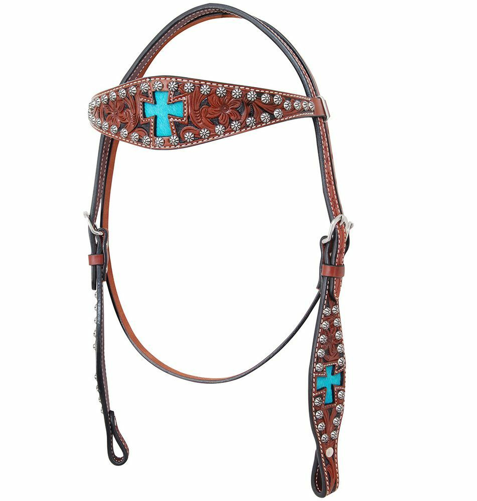 Western Brown Leather Brow Band Style Headstall with Hand Carving & Cross Inlay