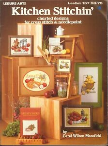 Kitchen-Stitchin-039-Cross-Stitch-Needlepoint-Pattern-Booklet-Leisure-Arts-157