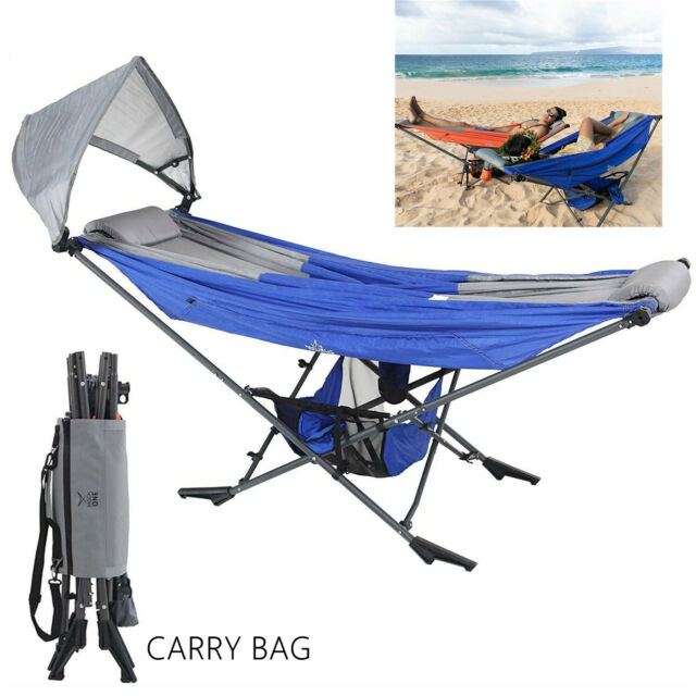Camping Hammock Stand With Sunshade Portable Folding Hammock For Outdoor Beach
