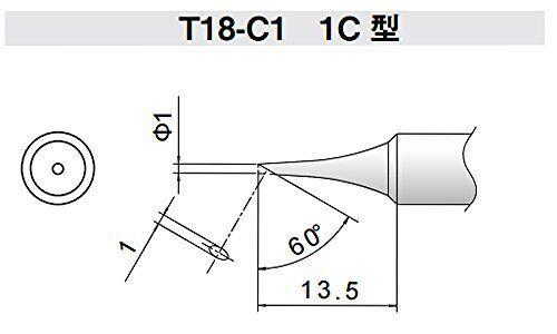 Hakko T18-C1 T18 Series Soldering Tip for FX-888//FX-8801 Bevel 1 mm//60 x 13.5 mm