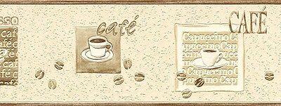 RASCH EXPRESS CAFE CREAM BEIGE BROWN KITCHEN WALLPAPER BORDER 5 Meter Roll NEW