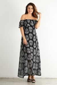 a7a3c693e22 Plus Black Chiffon Sugar Skull Ruffle Off Shoulder Maxi Long Dress ...