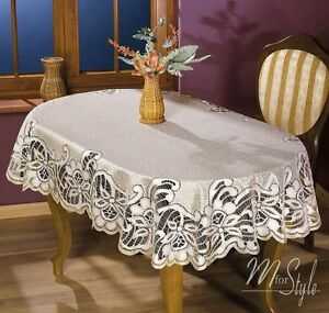 Thick Quality Lace Tablecloth Natural Golden Beige Oval 51