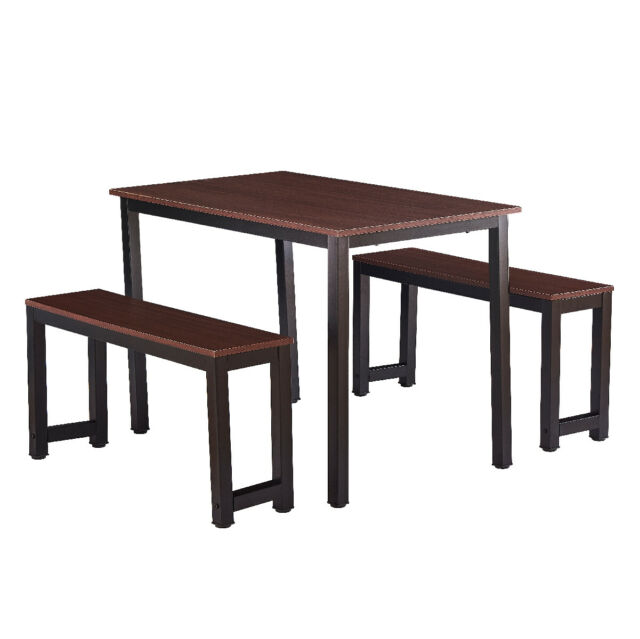 3 Piece Dining Table Set With 2 Benches Wooden Kitchen Dining Room Furniture For Sale Online