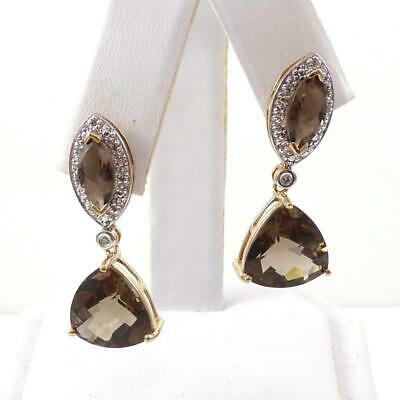 Details about  /Emerald Cut Smoky Brown Topaz Leverback Earrings 14k Yellow Gold over Base