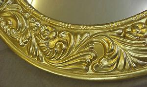 Wandspiegel-57-cm-RUND-Deko-SPIEGEL-Rahmen-Art-Deco-Stil-GOLD-NEUWARE