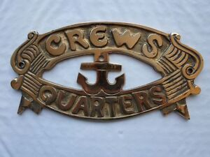 Solid-Brass-034-Crews-Quarters-034-Door-Sign-Nautical-Maritime-Boat-Ship-Decor