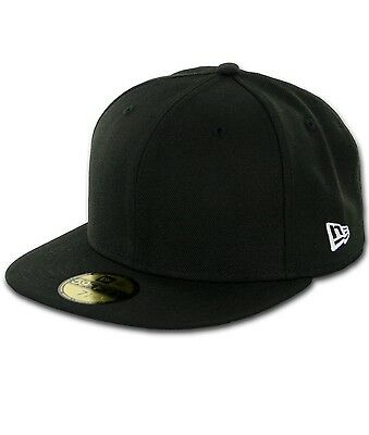 NEW ERA Plain BLANK BLACK Original 59Fifty Fitted Baseball Hat Cap Customizable