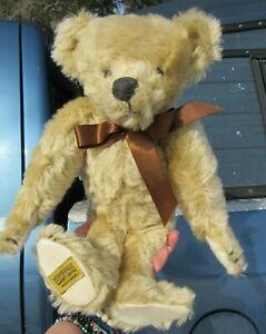 Hermann Teddy Mohair Bear 13 With Voice Pale Gold