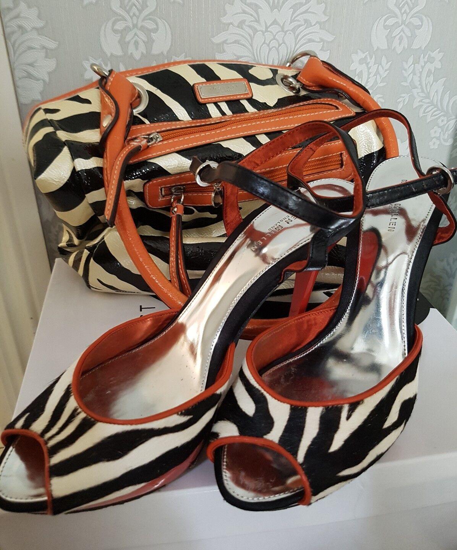 Karen MILLEN Zebra Pony Skin Leder Schuhes UK 7 EU 40 And NEU Rosetti Bag