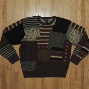 Faconnable Wool Sweater Mens Multi Color Block Pattern Design Size
