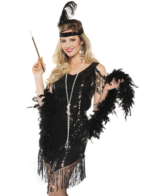 Black Sequined Swinging Flapper Dress 20\'s The Great Gatsby ...