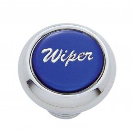 """Chrome Aluminum /""""Wiper/"""" Dash Knob With Blue Aluminum Sticker"""