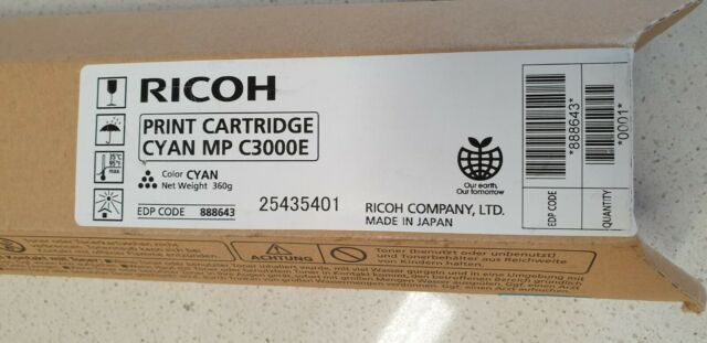 Genuine Ricoh 888643 Cyan Toner for Aficio MP C2000 C2500 C3000 New Never Opened