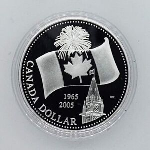 Canada 2005 40th Anniversary of Flag .9999 Silver $1.00 One Dollar Coin Proof