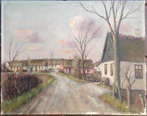 THEODOR-ULRICHSEN-1905-DORFSTRASSE-OLGEMALDE-ANTIK-SIGNIERT-BAUERNHAUSER