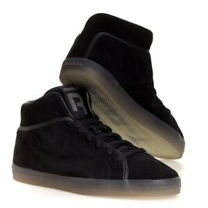 REEBOK T RAWW CLASSIC CASUAL FASHION MID TOP SUEDE SNEAKER BLACK NEW ... be1610b46