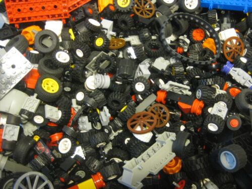 LEGO Bulk lot WHEELS 1 lb pound Tires Axles Car Vehicle Lots of Parts!