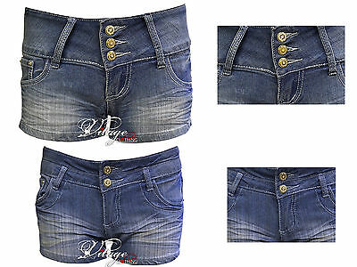 Womens Girls Light Denim blue Highwaisted 3 Button Shorts Jeans Hotpants
