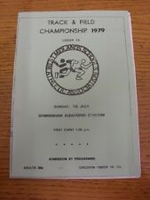 01/07/1979 Athletics Programme: West Midlands Schools Annual Track & Field Champ