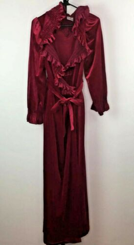 Vtg 70s Miss Elaine Long Velour Robe Burgundy Red
