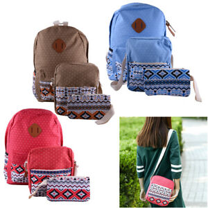 44b9824747 3 pcs Set Backpack Canvas Travel Bookbags School Bags for Teenage ...