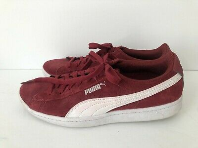 puma women's low top shoes plum suede leather lace up