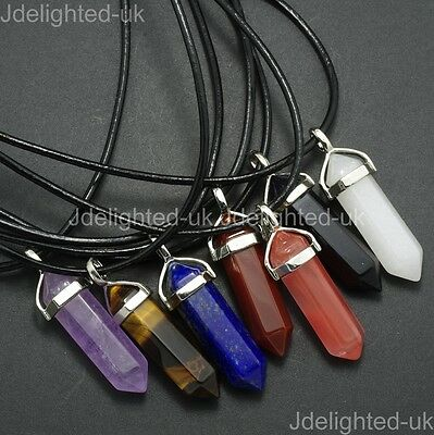 Natural Gemstone Hexagonal Pointed Reiki Chakra Pendant Real Leather Necklace