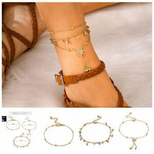 Gold-Stainless-Steel-Crystal-Star-Charms-Anklet-Foot-Ankle-Chain-Bracelet-NEW