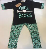 2 Piece T-shirt & Long Pants Toddler Girl Outfit Clothes Set (size 2t)