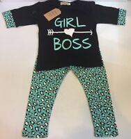 2 Piece T-shirt & Long Pants Toddler Girl Outfit Clothes Set (size 1-2t)
