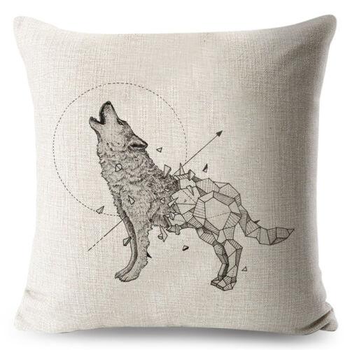 Dessin au crayon animal rhinocéros Taie d/'Oreiller Imprimé Housse de Coussin Loup Oiseau