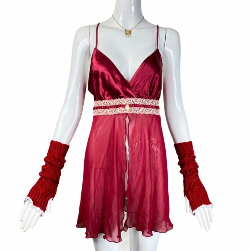 Vintage 90s 00s Burgundy Slip Dress Alt Grunge Fa… - image 1