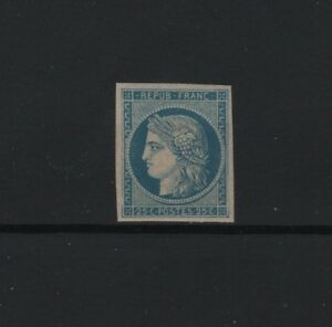 FRANCE-STAMP-YVERT-SCOTT-4-034-CERES-25c-BLUE-1850-034-MH-VF-SIGNED-R873