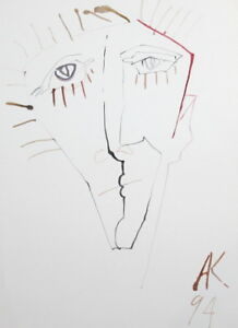 Abstrato Cubismo Rosto Homem Desenho Aquarela Assinada Ebay